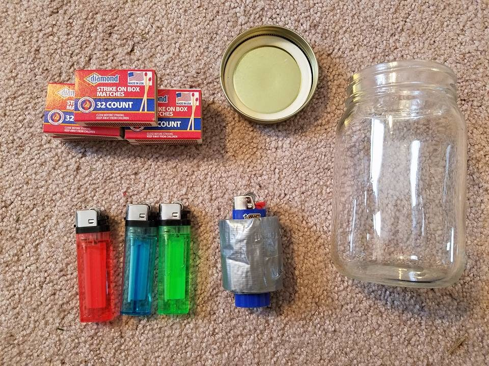 lighters, matches, mason jar