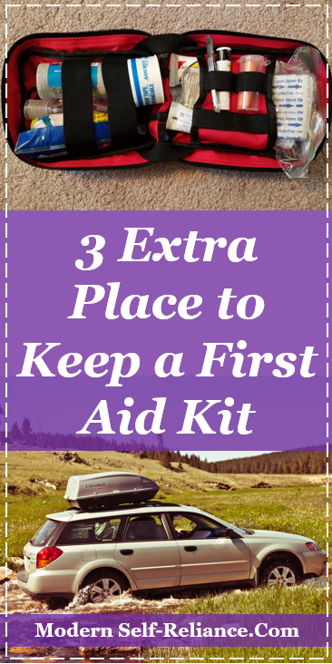 Where to keep a first aid kit besides your home?