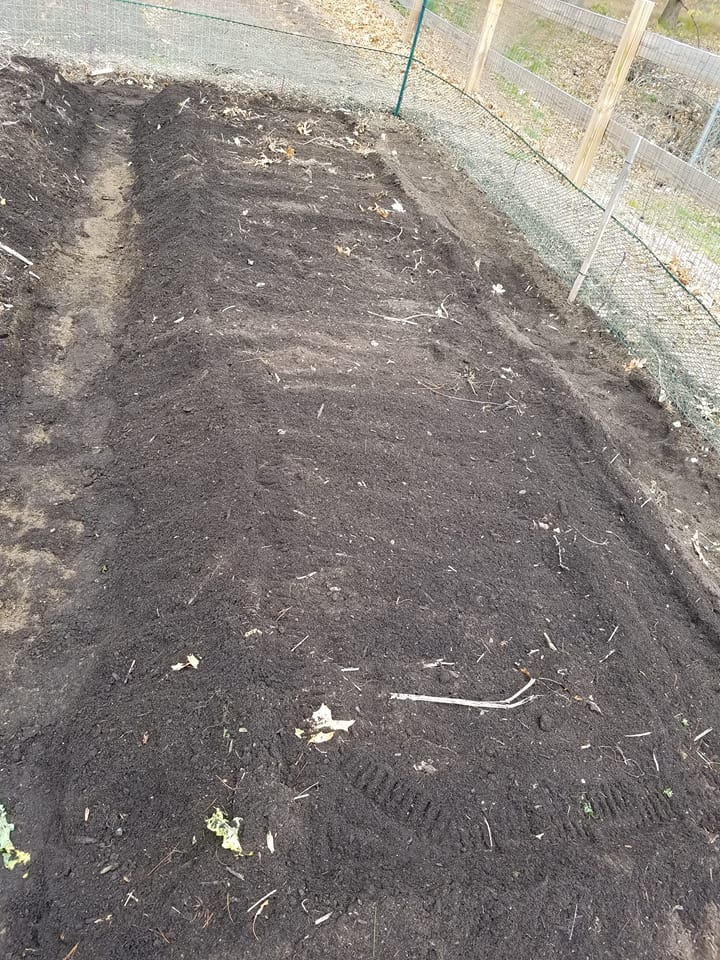A freshly mounded bed ready for seeds!