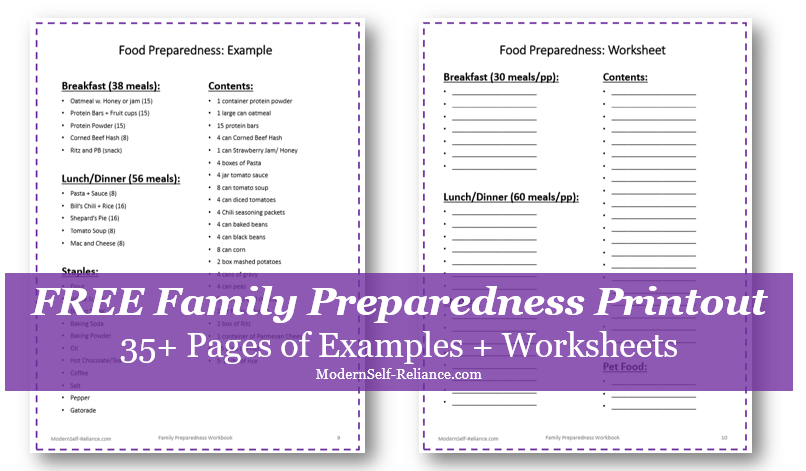 family workbook printout
