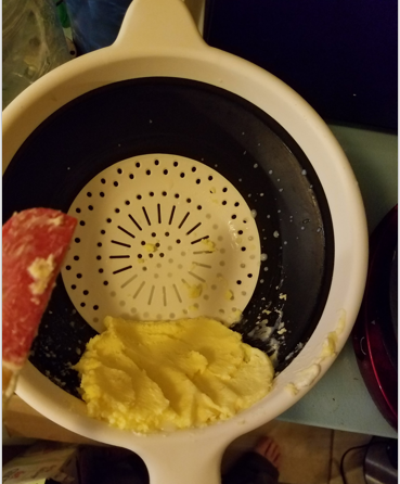 butter draining off buttermilk