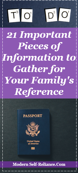 21 Important Pieces of Information to Gather for Your Family's Rerefence