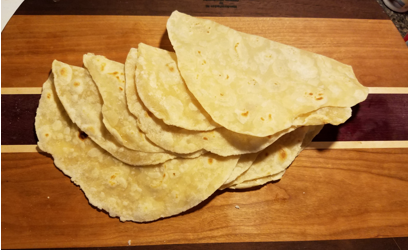 Homemade tortillas ready to eat