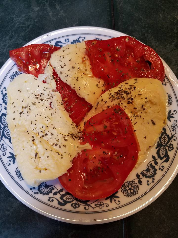 Homemade mozzarella cheese and garden tomatoes