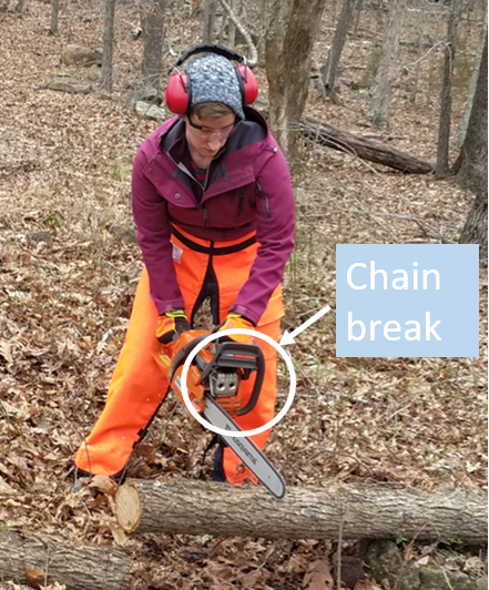 Chainsaw break on the front