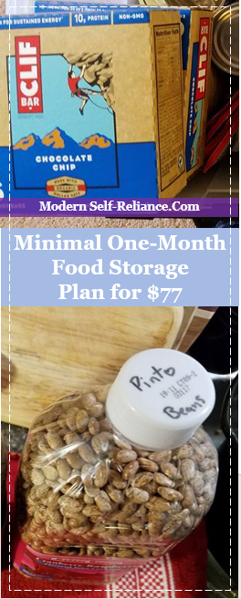 Minimal One-Month Food Storage Plan for $77